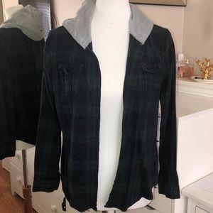 Plaid flannel hood sweater